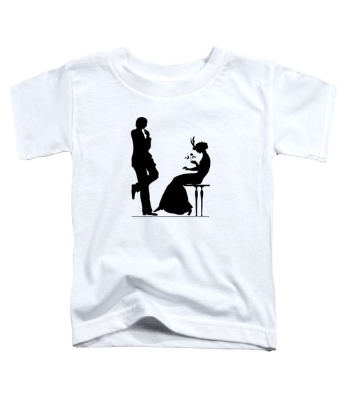 Black And White Silhouette Of A Man Giving A Woman A Flower Toddler T-Shirt