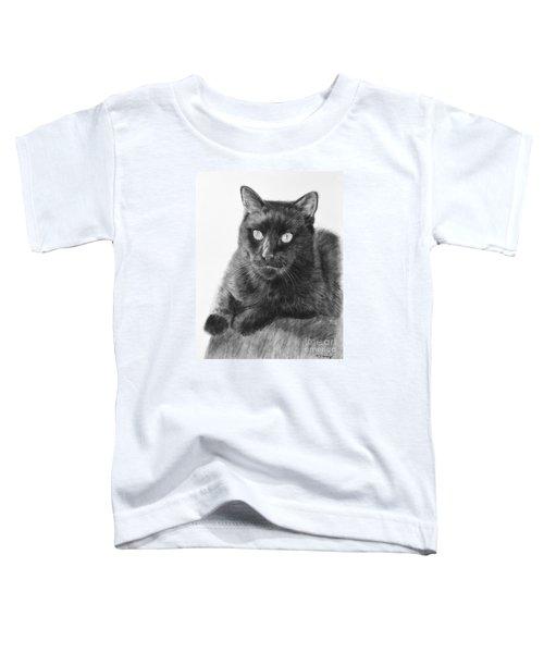Black Cat Detailed Drawing Toddler T-Shirt