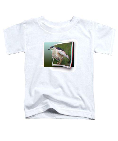 Black Crowned Night Heron - Use Red-cyan 3d Glasses Toddler T-Shirt