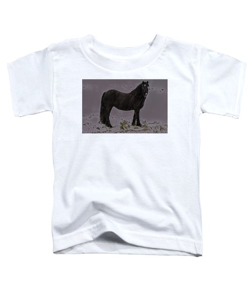 Black Horse In The Snow Toddler T-Shirt