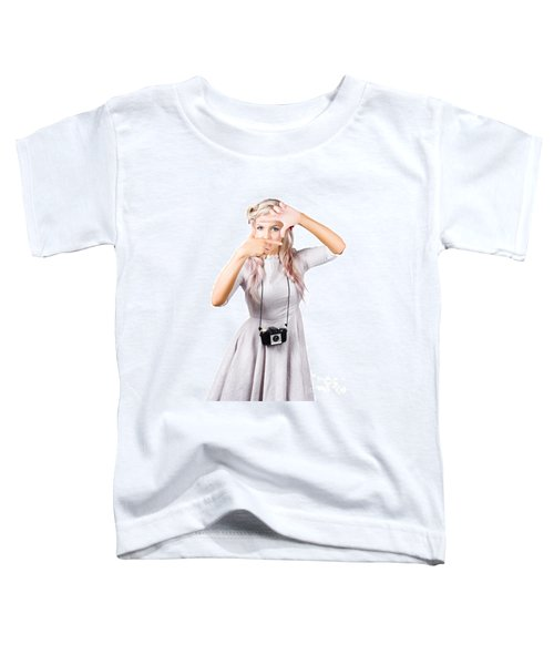 Blond Woman Framing Picture Toddler T-Shirt