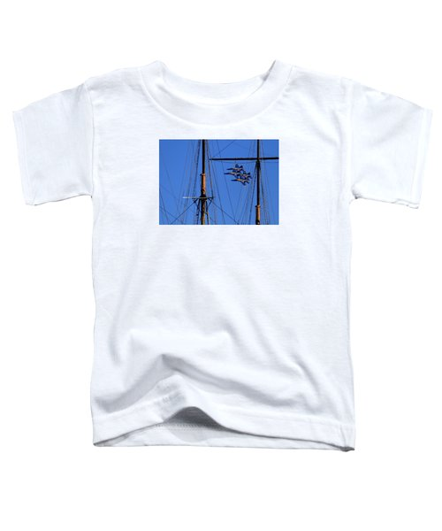 Blue Angels Pass Behind Masts Of The Balclutha At Hyde Street Pier Toddler T-Shirt