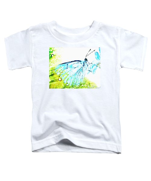 Blue Butterfly On Daisy Alcohol Inks Toddler T-Shirt