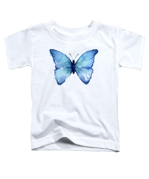 Blue Butterfly Watercolor Toddler T-Shirt