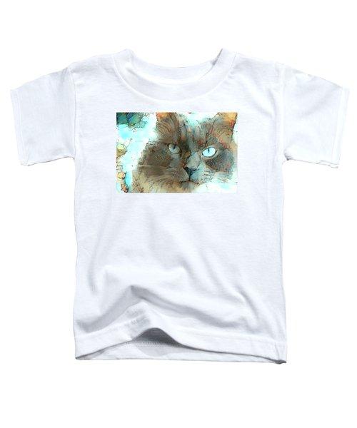 Blue Eyed Persian Cat Watercolor Toddler T-Shirt