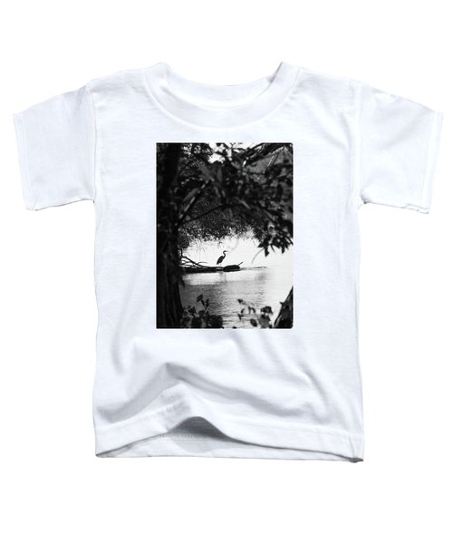 Blue Heron In Black And White. Toddler T-Shirt