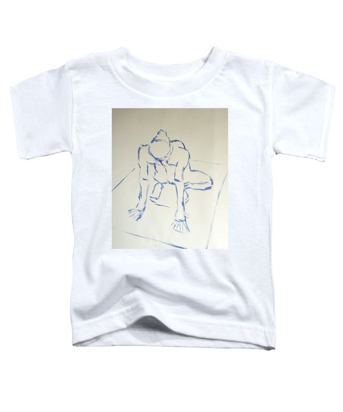 Blue Line Painting Of A Male Nude Kneeling On His Heels And Resting On Hands Which Are Behind Him Toddler T-Shirt