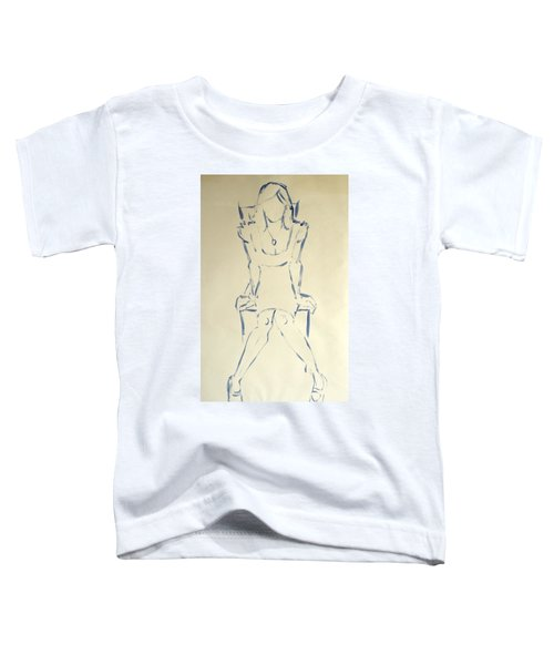 Blue Line Painting Of Woman Sat On Chair With Hands On The Sides Of Her Legs Toddler T-Shirt