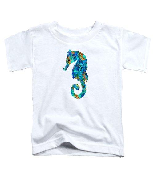 Blue Seahorse Art By Sharon Cummings Toddler T-Shirt by Sharon Cummings