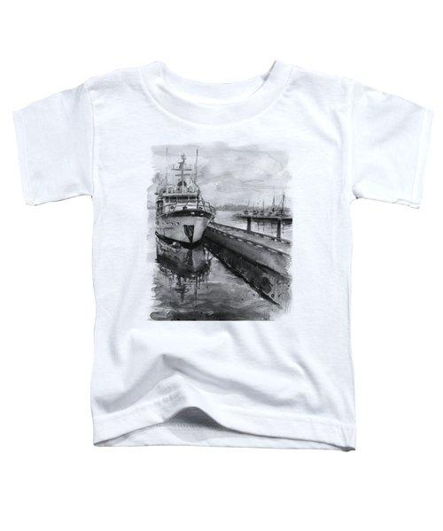 Boat On Waterfront Marina Kirkland Washington Toddler T-Shirt by Olga Shvartsur