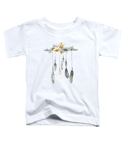Boho Feathers Floral Branch Toddler T-Shirt