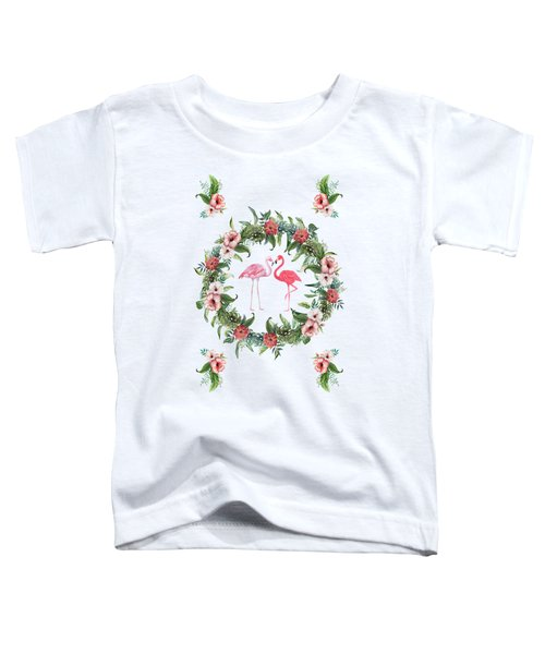 Boho Floral Tropical Wreath Flamingo Toddler T-Shirt