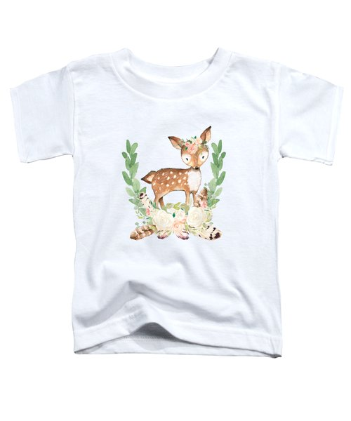 Boho Woodland Blush Dear With Feathers Toddler T-Shirt