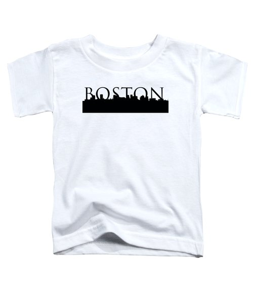 Boston Skyline Outline With Logo Toddler T-Shirt by Joann Vitali