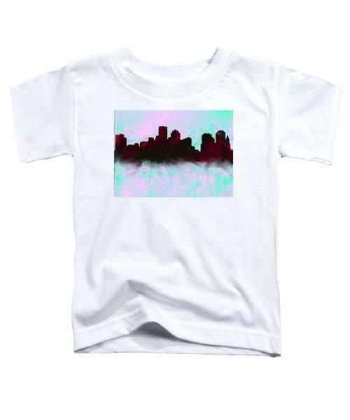 Boston Skyline Sky Blue  Toddler T-Shirt by Enki Art