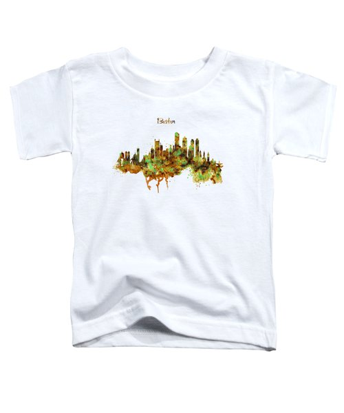 Boston Watercolor Skyline Toddler T-Shirt by Marian Voicu