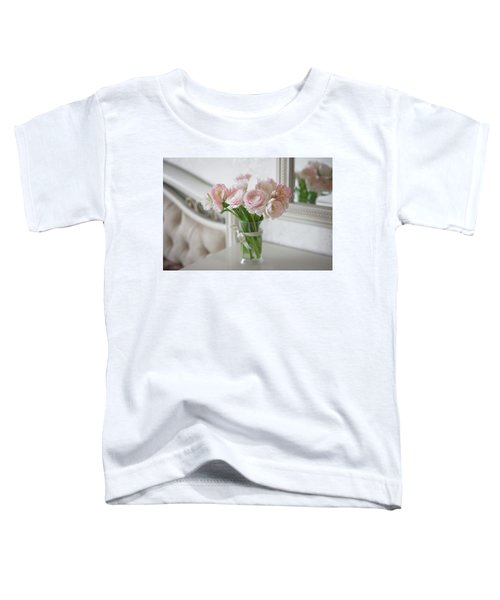 Bouquet Of Delicate Ranunculus And Tulips In Interior Toddler T-Shirt