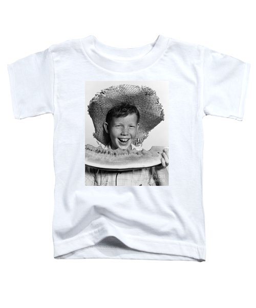Boy Eating Watermelon, C.1940-50s Toddler T-Shirt by H. Armstrong Roberts/ClassicStock