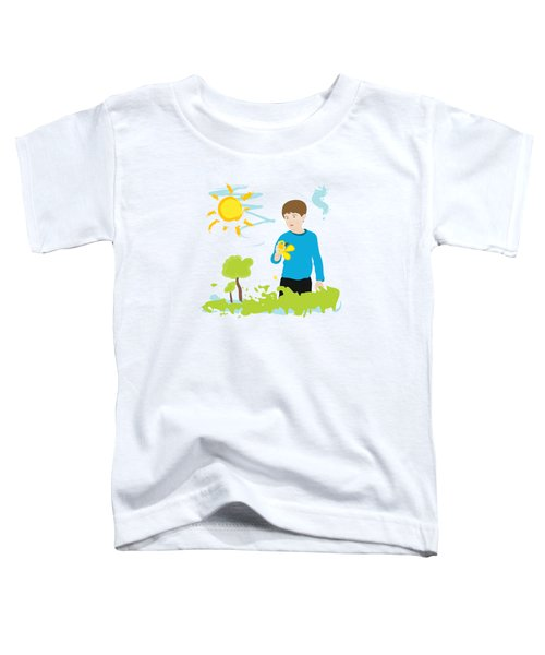Boy Painting Summer Scene Toddler T-Shirt by Serena King