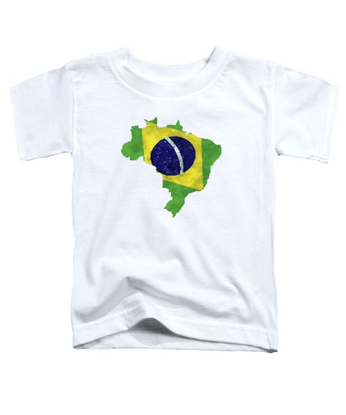 Brazil Map Art With Flag Design Toddler T-Shirt by World Art Prints And Designs