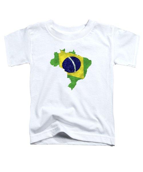 Brazil Map Art With Flag Design Toddler T-Shirt