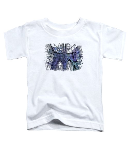 Brooklyn Bridge Berry Blues 3 Dimensional Toddler T-Shirt by Di Designs