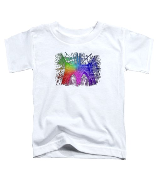 Brooklyn Bridge Cool Rainbow 3 Dimensional Toddler T-Shirt by Di Designs