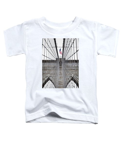 Toddler T-Shirt featuring the photograph Brooklyn Bridge Flag by Peter Simmons