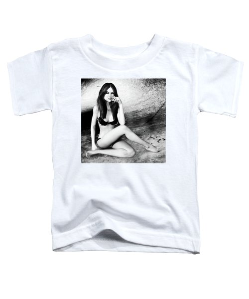 Brunette In Lingerie Black And White Toddler T-Shirt