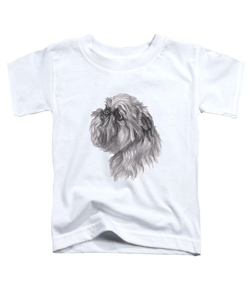 Brussels Griffon Dog Portrait  Drawing Toddler T-Shirt by I Am Lalanny