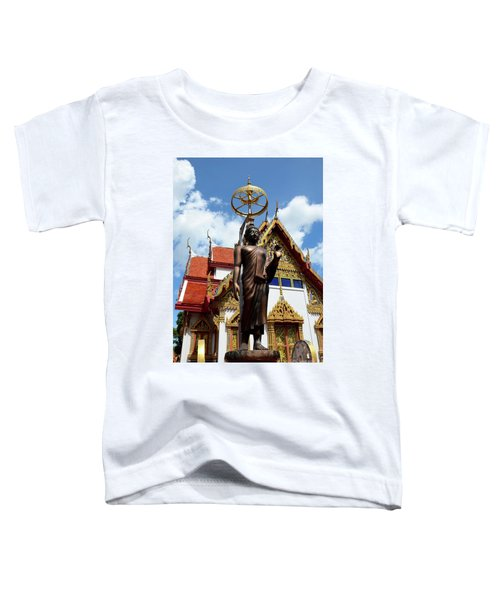Buddha Statue With Sunshade Outside Temple Hat Yai Thailand Toddler T-Shirt