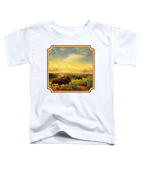 Buffalo Fox Great Plains Western Landscape Oil Painting - Bison - Americana - Square Format Toddler T-Shirt