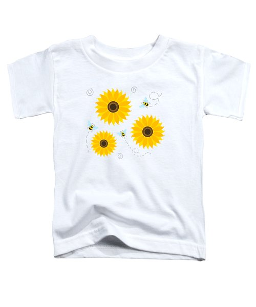 Busy Bees And Sunflowers - Large Toddler T-Shirt by SharaLee Art