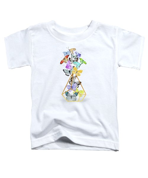 Butterfly Terrarium, Butterflies And A Gold Wire Terrarium Toddler T-Shirt