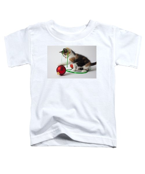 Calico Kitten And Christmas Ornaments Toddler T-Shirt
