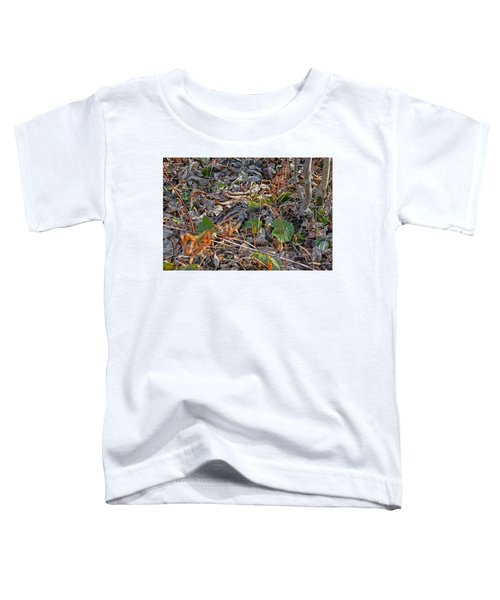 Camouflaged Plumage With Fallen Leaves Toddler T-Shirt