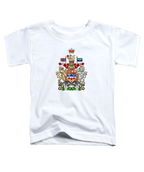 Canada Coat Of Arms Over White Leather Toddler T-Shirt