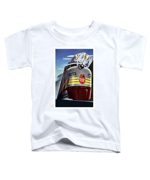 Canadian Pacific - Railroad Engine, Mountains - Retro Travel Poster - Vintage Poster Toddler T-Shirt