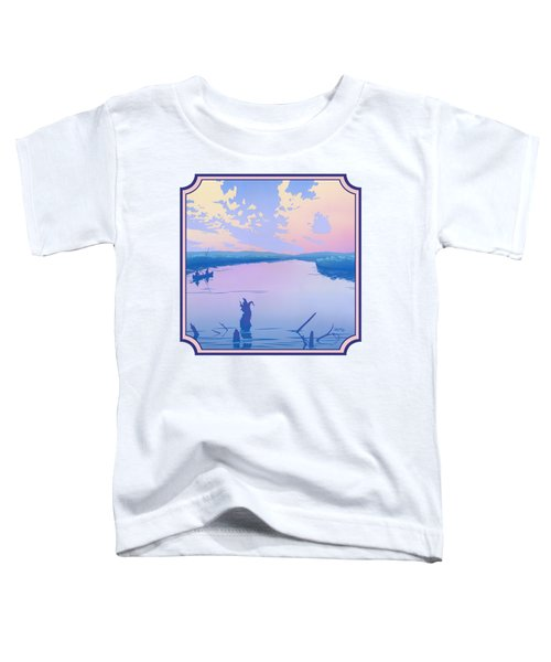 Canoeing The River Back To Camp At Sunset Landscape Abstract - Square Format Toddler T-Shirt