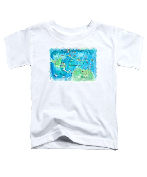 Caribbean Cruise Travel Poster Map Antilles West Indies Cuba Florida - Fine Art Print Poster/canvas Toddler T-Shirt