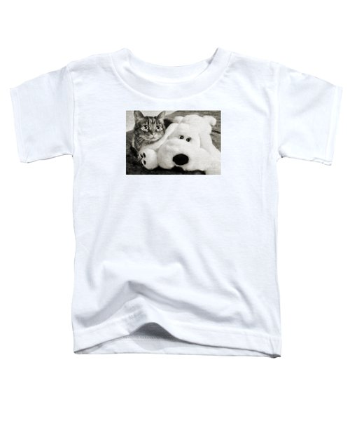 Cat And Dog In B W Toddler T-Shirt
