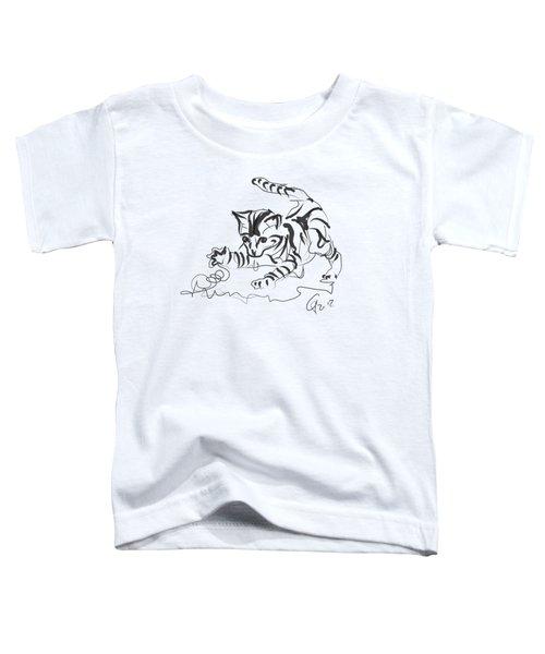 Toddler T-Shirt featuring the digital art Cat- Cute Kitty  by Go Van Kampen