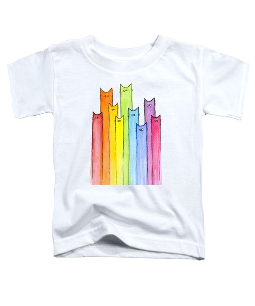 Cat Rainbow Pattern Toddler T-Shirt by Olga Shvartsur