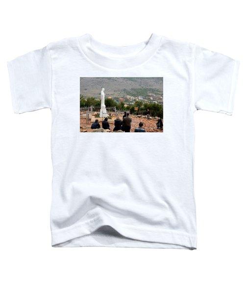 Catholic Pilgrim Worshipers Pray To Virgin Mary Medjugorje Bosnia Herzegovina Toddler T-Shirt