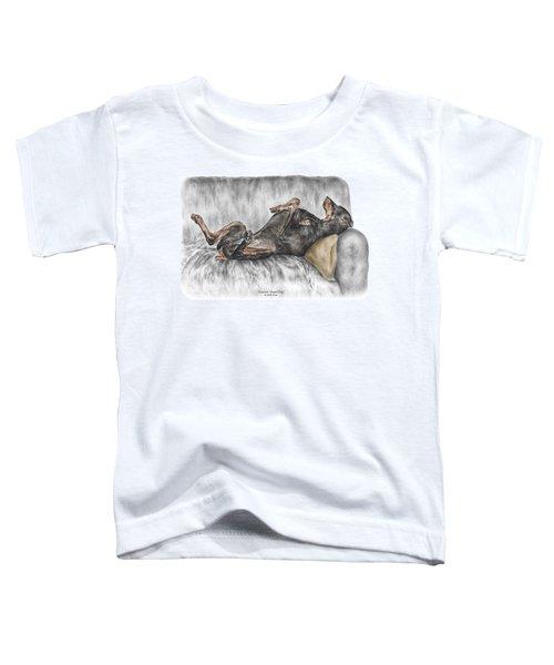 Caution Guard Dog - Doberman Pinscher Print Color Tinted Toddler T-Shirt
