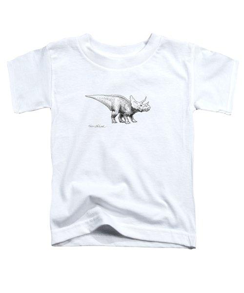 Cera The Triceratops - Dinosaur Ink Drawing Toddler T-Shirt