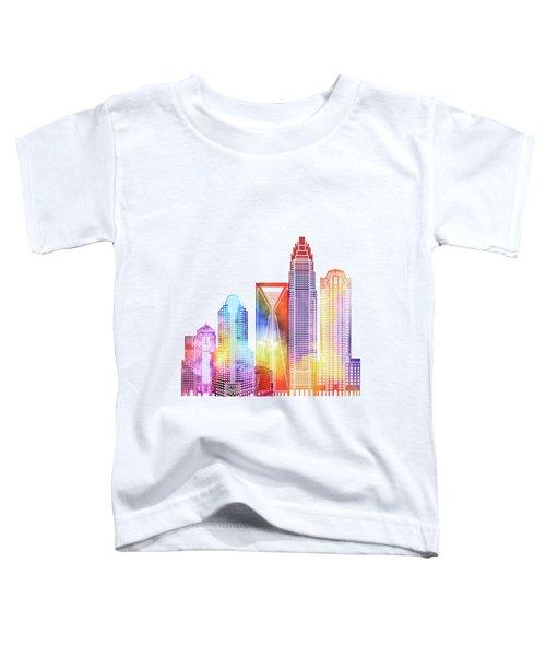 Charlotte Landmarks Watercolor Poster Toddler T-Shirt