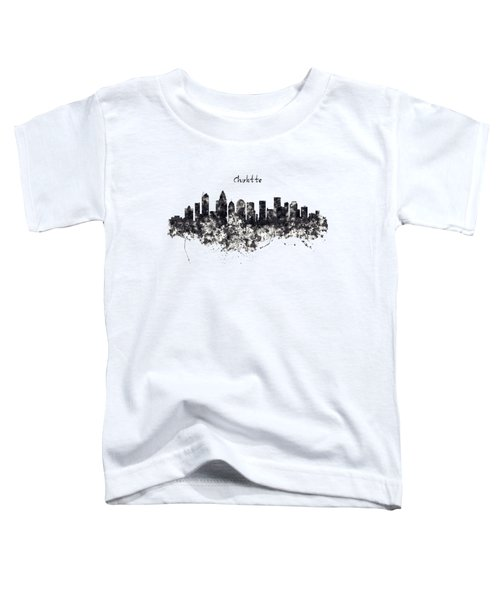 Charlotte Watercolor Skyline Black And White Toddler T-Shirt