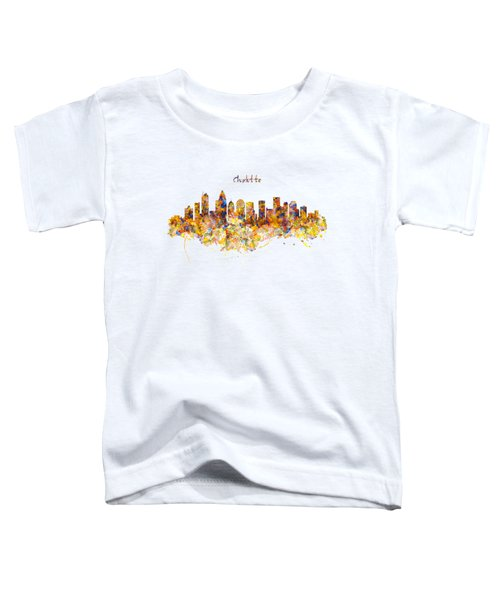Charlotte Watercolor Skyline Toddler T-Shirt by Marian Voicu