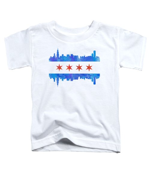 Chicago Flag Watercolor Toddler T-Shirt by Mike Maher
